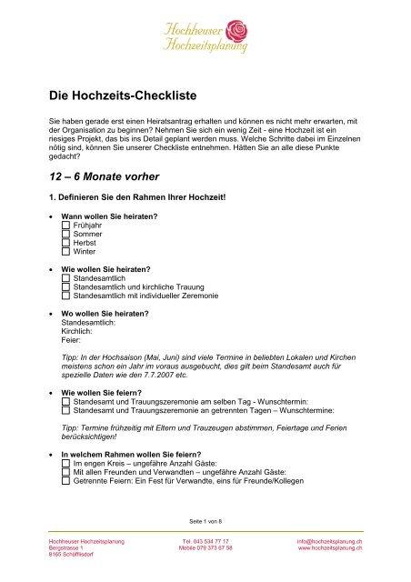 Unsere Checkliste Zur Hochzeit Das Solltet Ihr Nicht Vergessen