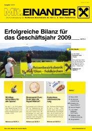 Erfolgreiche Bilanz für das Geschäftsjahr 2009 - RBB St. Veit/Glan