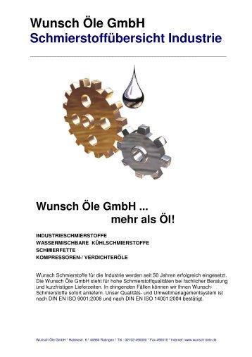 Wunsch Öle GmbH Schmierstoffübersicht Industrie