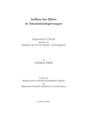 Aufbau der Härte in Aluminiumlegierungen - Gruppe - AG Maier ...
