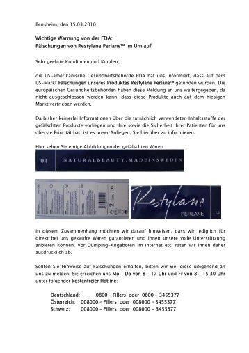 Fälschungen von Restylane Perlane™ im Umlauf