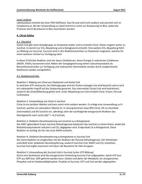 Biochemie des Stoffwechsels - StV Biologie Salzburg