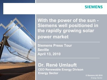 Sector Energy Business Conference - Siemens