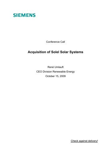 Acquisition of Solel Solar Systems - Siemens