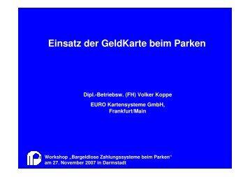 """Workshop """"Bargeldlose Zahlungssysteme beim Parken"""" - FGSV"""
