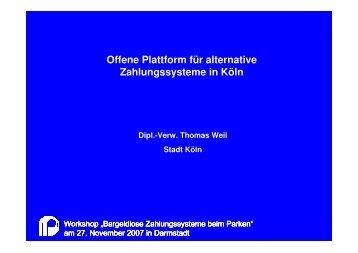 Offene Plattform für  alternative Zahlungssysteme in Köln - FGSV