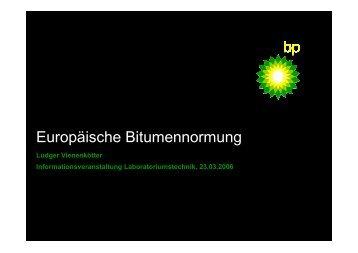 Europäische Bitumennormung - FGSV