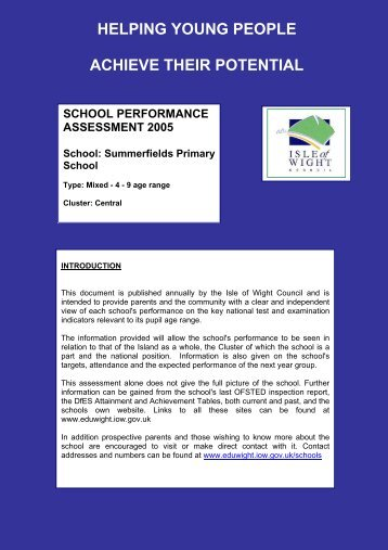 Summerfields Primary School - EduWight - Isle of Wight Council