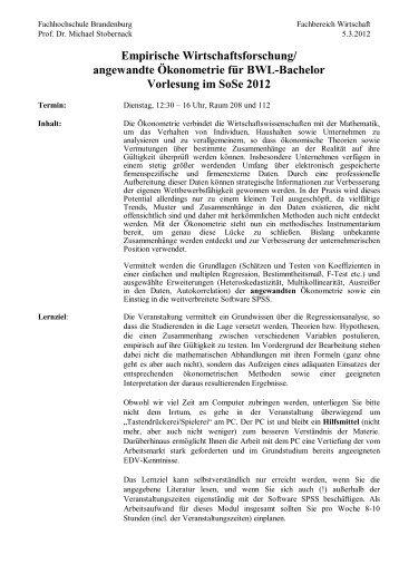 Fachhochschule Brandenburg Fachbereich Wirtschaft