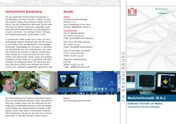 Flyer Medizininformatik - Fachhochschule Brandenburg