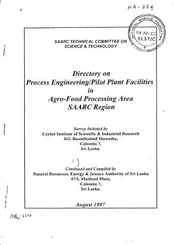 Directory on Process Engineering/Pilot Plant Facilities Agro-Food ...