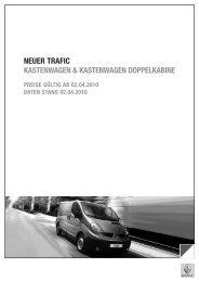 Gewichte, Verbrauch, Reifendimensionen und Sitze Trafic - Renault