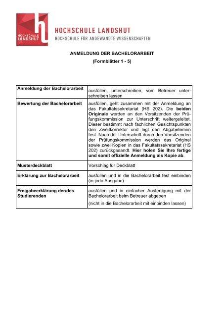 Anmeldung Der Bachelorarbeit Formblätter 1 5