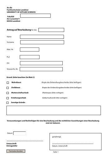 Antrag auf Beurlaubung für das - Fachhochschule Landshut