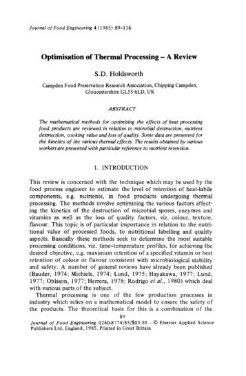 Optimisation of Thermal Processing - A Review