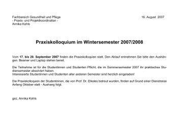 Praxiskolloquium im Wintersemester 2007/2008