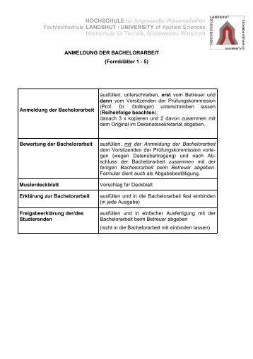 Bewertung der Bachelorarbeit - Fachhochschule Landshut