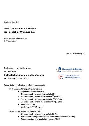 Broschuere Kolloquium SS11 - an der Hochschule Offenburg