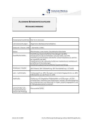 allgemeine betriebswirtschaftslehre modulbeschreibung - an der ...