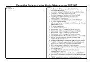 Themenliste Bachelorarbeiten für das Wintersemester 2012/2013