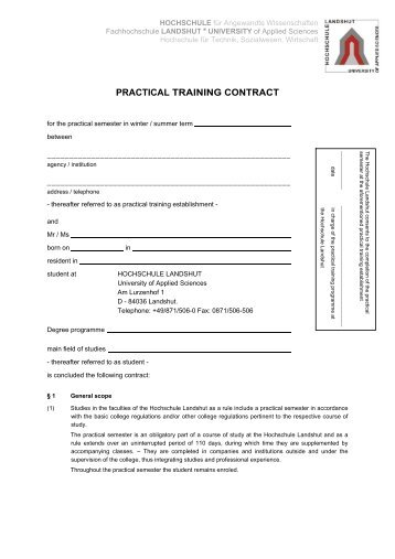 PRACTICAL TRAINING CONTRACT - Fachhochschule Landshut
