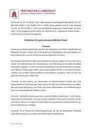 Richtlinien für gute wissenschaftliche Praxis - Fachhochschule ...