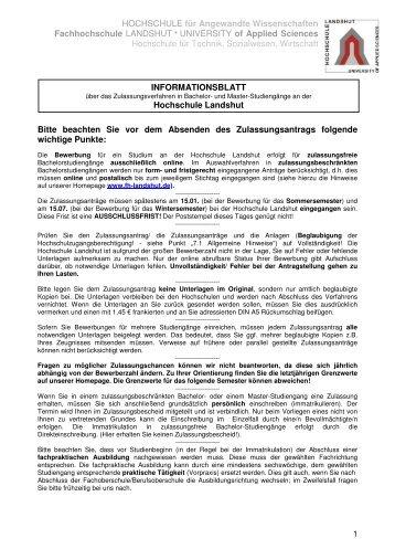 informationsblatt fachhochschule landshut - Fh Dusseldorf Bewerbung