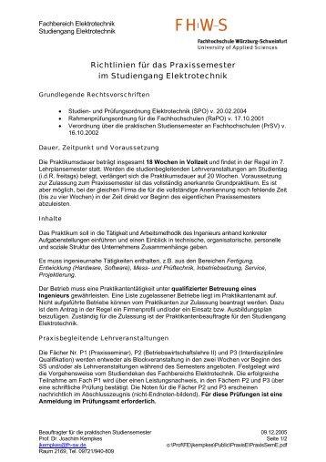 Richtlinien für das Praxissemester im Studiengang Elektrotechnik