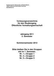 Vorlesungsverzeichnis für den Studiengang ... - HWR Berlin