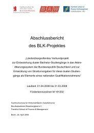 Abschlussbericht BLK-Projekt - Hochschule für Wirtschaft und Recht ...