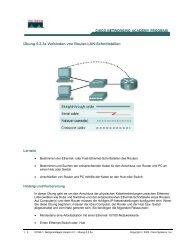 Übung 5.2.3a Verbinden von Router-LAN-Schnittstellen