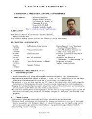curriculum vitae of andrei kolmakov - Physics - Southern Illinois ...