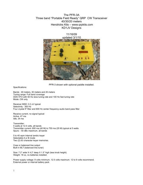 Table of Contents - Hendricks QRP Kits