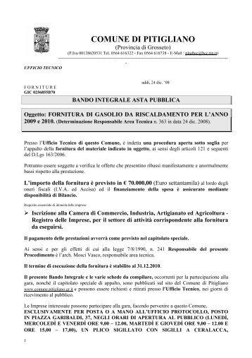 Bando di Gara - Comune di Pitigliano