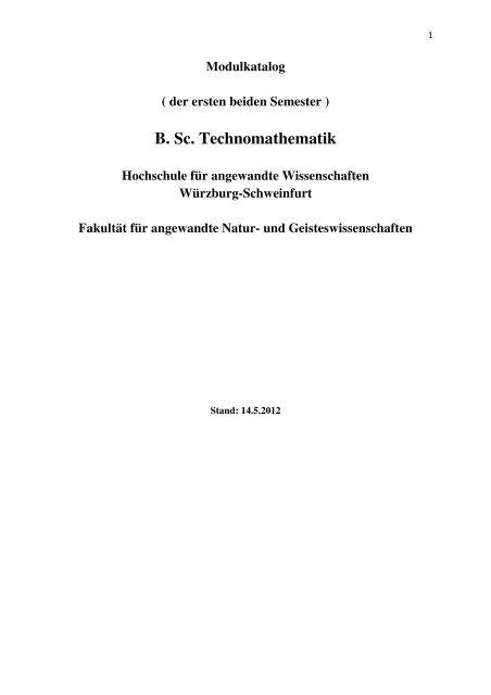B. Sc. Technomathematik - Hochschule für angewandte ...