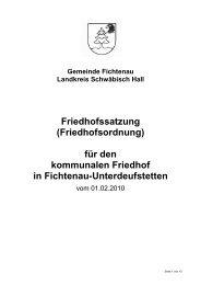 für den kommunalen Friedhof in Fichtenau-Unterdeufstetten