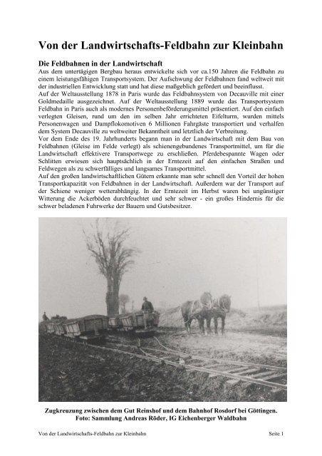 Von der Landwirtschafts-Feldbahn zur Kleinbahn - Frankfurter ...