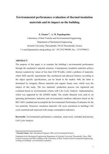 Environmental performance evaluation of thermal insulation ... - Fibran