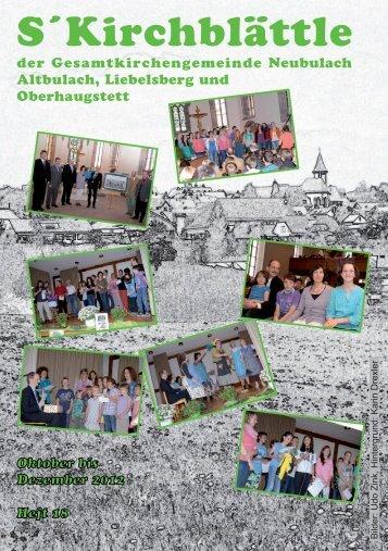 S´Kirchblättle - Evangelische Kirchengemeinde Neubulach