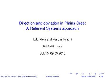 Direction and obviation in Plains Cree: A Referent Systems approach