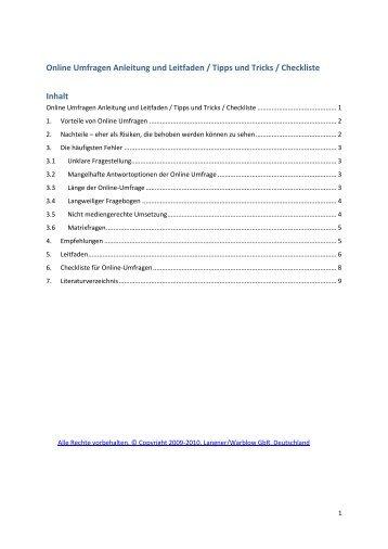 Online Umfrage erstellen.pdf - Online Umfragen erstellen mit LamaPoll