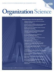 A Behavioral Theory of the Firm - Organization Science - Informs