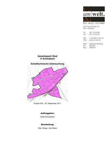 Gutachten Schalltechnische Untersuchung - Stadt Schwabach