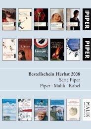 Bestellschein Herbst 2008 - Piper Verlag GmbH