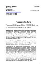 Elster-CD 2008 liegt vor - Finanzamt Böblingen