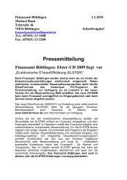 Elster CD 2009 liegt vor. - Finanzamt Böblingen