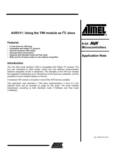 AVR311: Using the TWI module as I2C slave