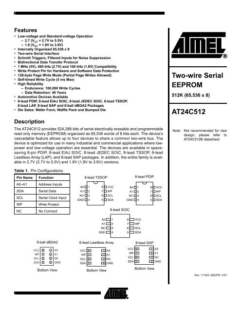 Two-wire Serial EEPROM AT24C512 - Atmel Corporation