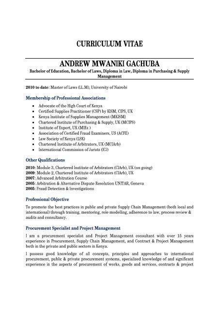 Curriculum Vitae Andrew Mwaniki Gachuba Integrity International