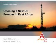 World Oil Council - November, 2012 - Africa Oil Corp.